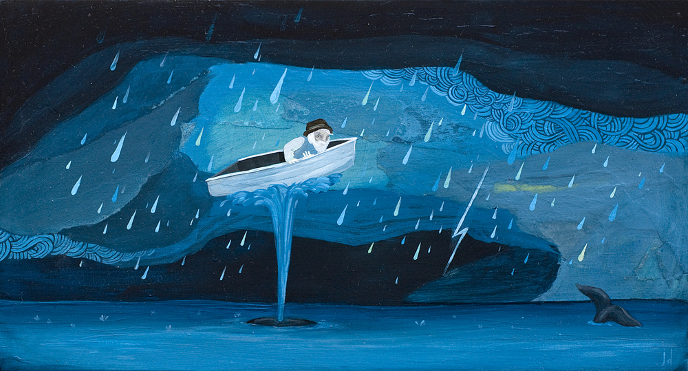 "Finn vs The Storm. 8""x14"". Acrylic gouache on wood panel."