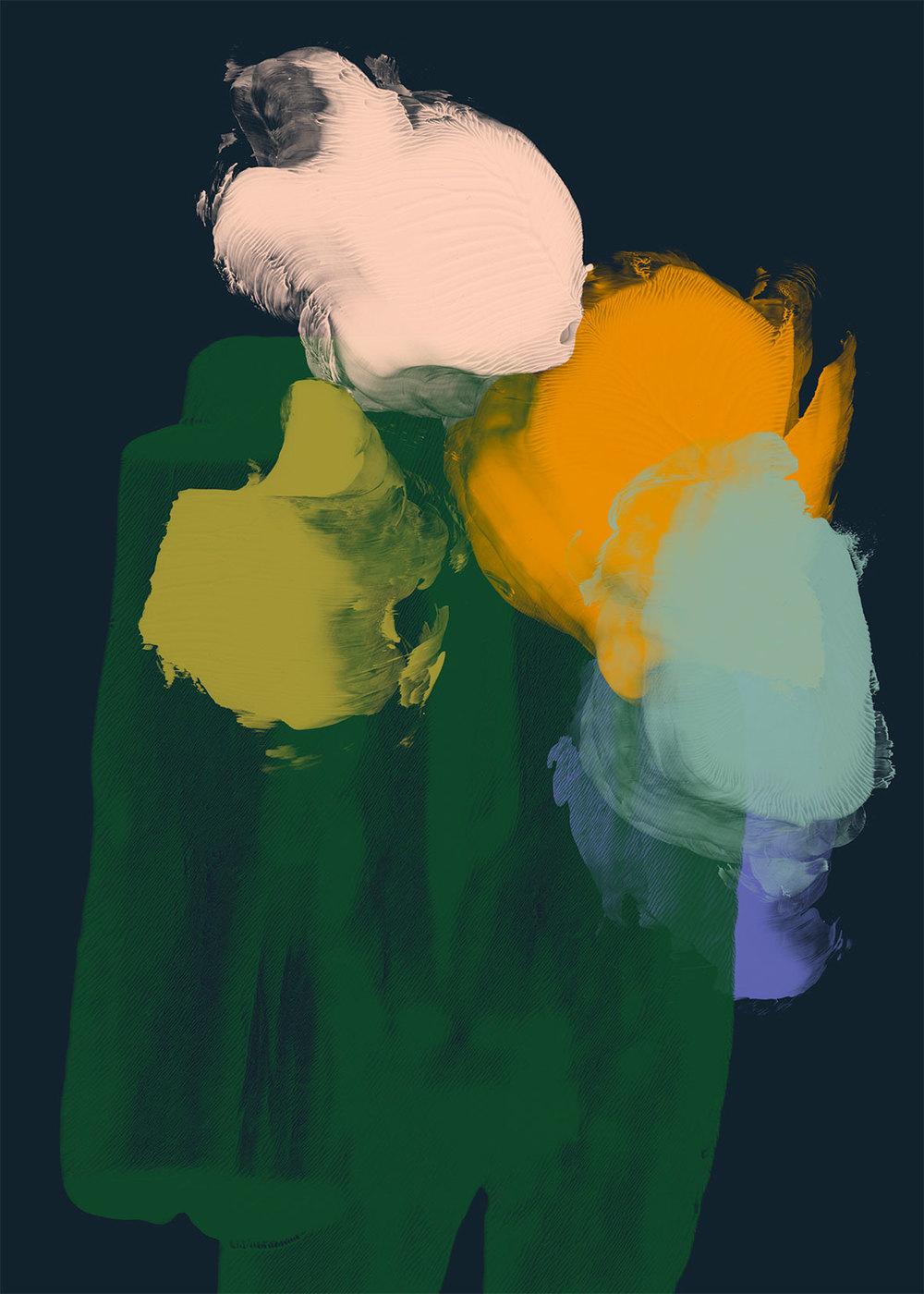 Kukkapuska, 2014, Pigmenttiprintti paperille, 100 x 70 cm. /Flower Bunch, 2014, Pigmentprint on paper, 100 x 70 cm. © Reeta Ek
