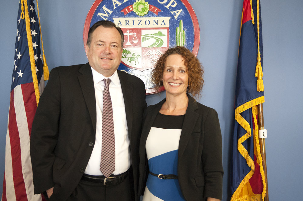 New Agua Fria Union High School governing board member Gina DeCoste and Agua Fria Superintendent Dr. Dennis Runyan
