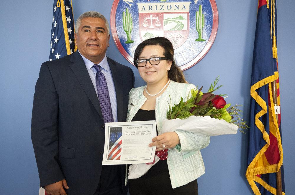 New Alhambra Elementary school board member Tanairi Ochoa-Martinez with Alhambra Elementary Superintendent Mark Yslas