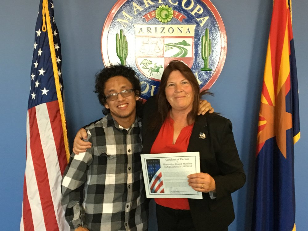 Deer Valley Unified school board member Ann Elizabeth Ordway with her son