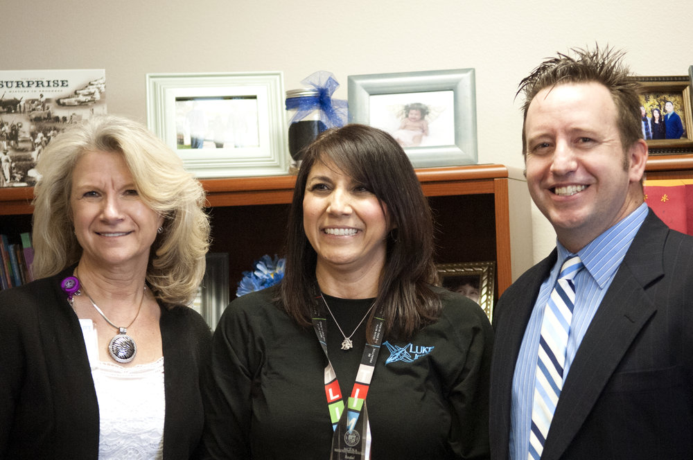 Superintendent Watson recognizes Amelia Garcia (center) as Exemplary Principal with Dysart Superintendent, Gale Pletnik(left).