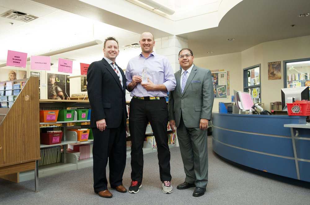 William C. Jack Principal, Denis Parcells (center) receives Exemplary Principal Award from Superintendent Watson, and Glendale Elementary Superintendent, Joe Quintana (right).