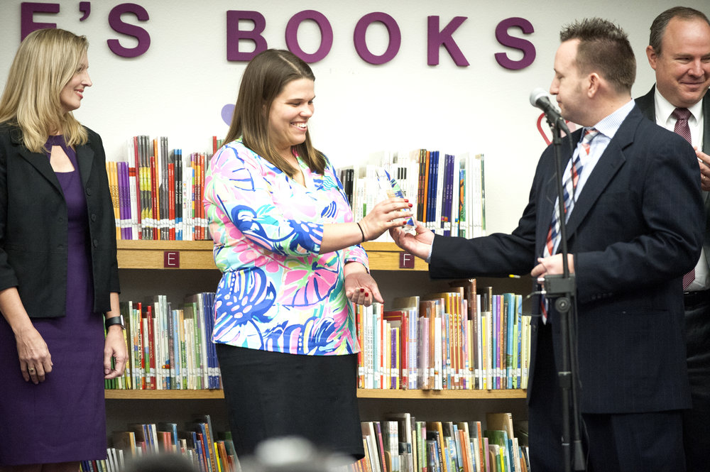 Superintendent Watson presents Hilary Obrian with the Exemplary Principal Award for her leadership at Madison Camelview Elementary.