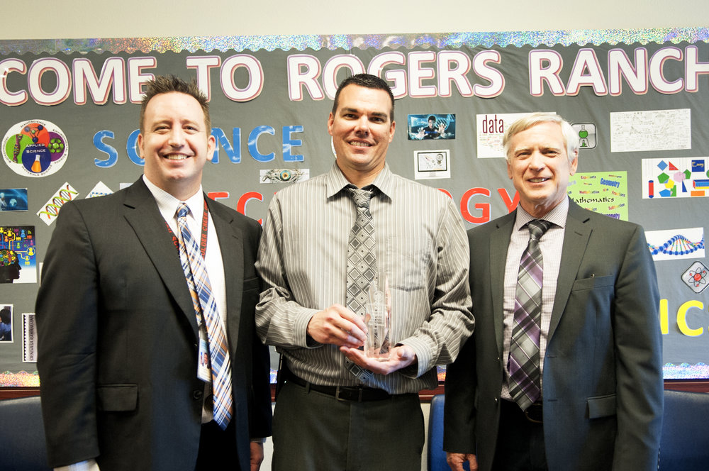 Exemplary Principal recipient Tim Thomas (center) with Superintendent Watson and Laveen Elementary District Superintendent, Bill Johnson (right).