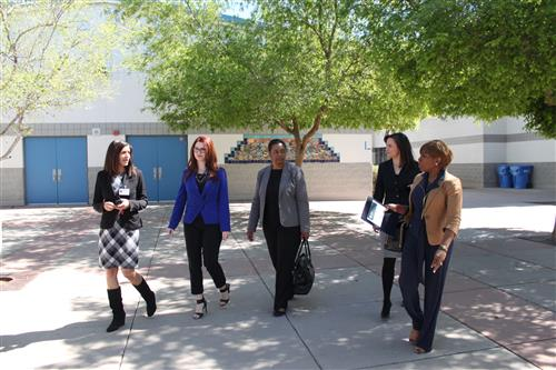(From Left) Cordova Middle School Principal Dr. Sharon Spearman, MCESA Field Specialist Amanda Jelleson, U.S. Department of Education TIF Program Manager Dr. Vicki Robinson, Chief Deputy Superintendent of MCESA Kristine Morris, and U.S. Department of Education Teacher Quality Programs Director Venetia Richardson tour the Cordova Middle School campus in Phoenix.
