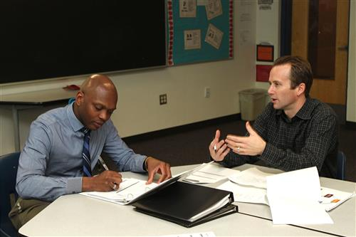 Walker meets regularly with Instruction and Enrichment Specialist Cody Greene and educator teams to review data and Educator Goal Plans to ensure teams are on track.
