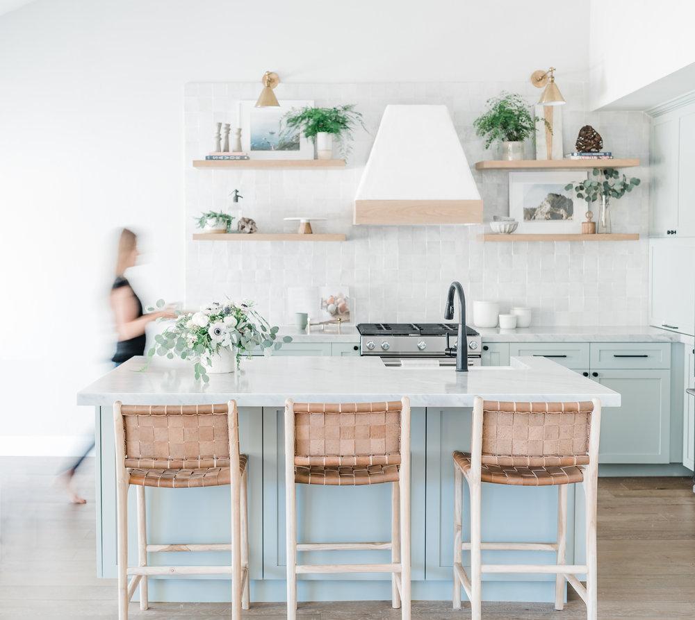 Kitchen remodel open shelves