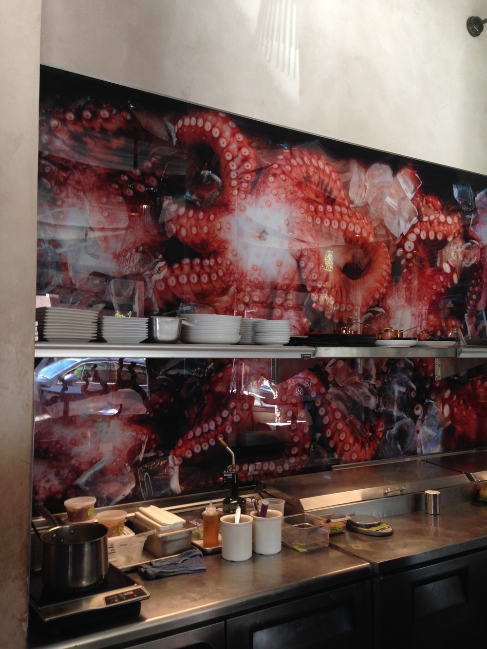 octopus photo on the wall at Morimoto