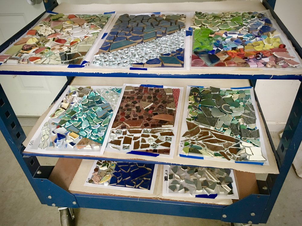 All the finished work, gorgeous!! Getting so excited to see this mosaic installed!