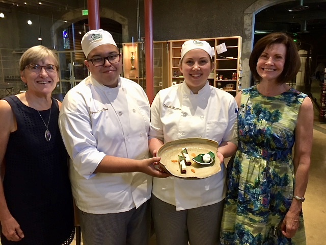 And the Paulas, pictured here with the CIA students who created a dish inspired by the Quake Mosaic: Paula Brutocao (L) and Paula Philipps (R), who have both been AMAZING regular volunteers and generous supporters