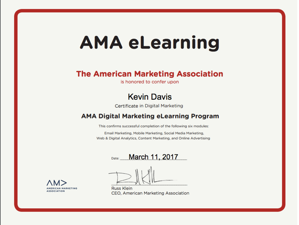 My Saturday I Earned My Digital Marketing Certifcate Kevin Davis