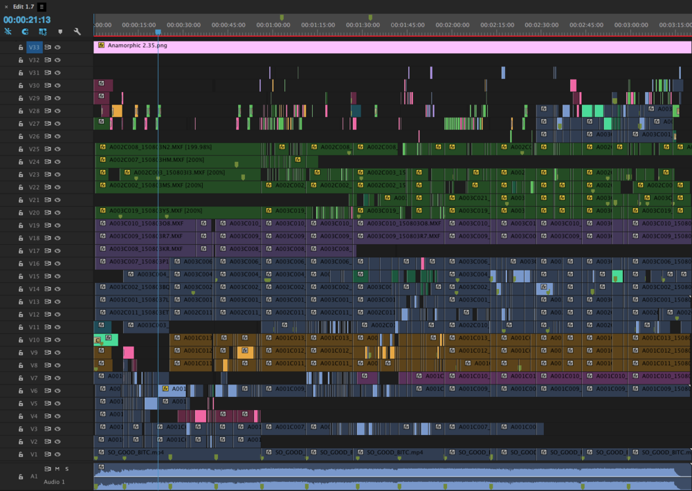 Adobe Premiere CC, music video edit timeline.