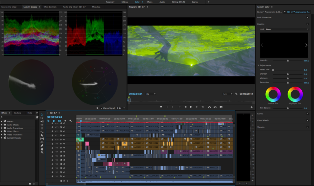 Adobe Premiere colour grading using Lumetri LUTs and tools.
