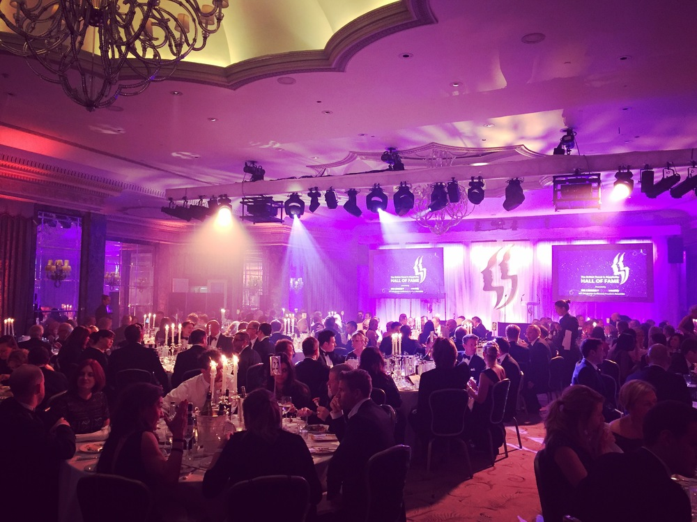 Hall of Fame 2016 @The Dorchester Hotel: Dinner is served at the black tie event.