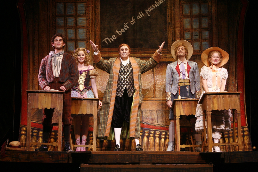 From Left to Right: Daniel Reichard, Jessica Tyler Wright, Richard Kind, Kyle Pfortmiller and Lauren Worsham.
