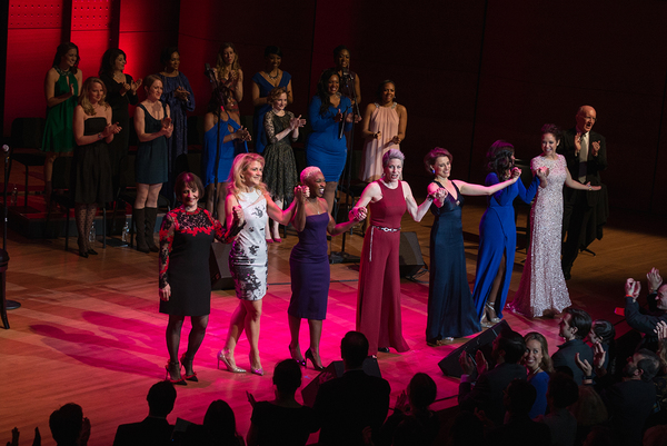 Our legendary soloists for the evening were -  (Left to Right) : Patti Lupone, Victoria Clark, Cynthia Erivo, Marin Mazzie, Judy Kuhn, Joaquina Kalukango, Alexandra Silber.  And our Host -  (Far Right) : John Doyle.