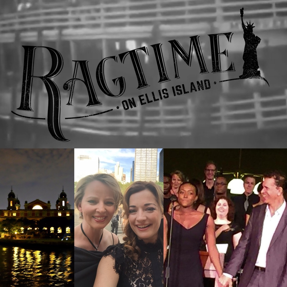 Left:     Our concert hall, Ellis Island.     Middle:    Me with Laura Michelle Kelly (Mother)    Right:   ( Front row) Aisha Jackson, Brian Stokes Mitchell. (And I'm up top left!)     Click here to be directed to the official Ragtime on Ellis Island website.