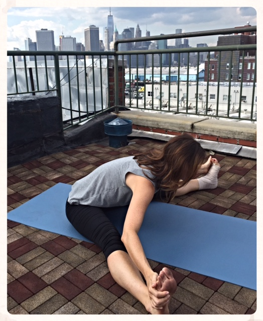 This one is a little tougher for me as I'm tight in my inner thighs. All the more reason to do this pose often! Again, flex your feet back and release your neck.