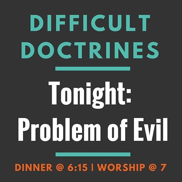 Merge is tonight and Difficult Doctrines is back with perhaps the most difficult of them all: Theodicy (the problem of evil). In other words, how can we reconcile a good God and suffering in the world? On a much lighter note, we are having Moe's for dinner and signing up for Lock the Building Week activities! Don't miss it!