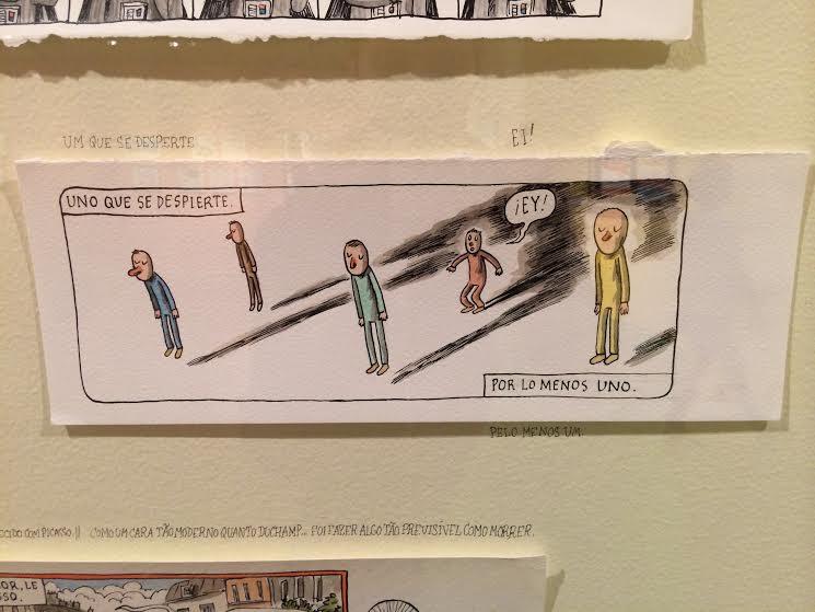Foto na exposição do Liniers, um cara bem desperto.