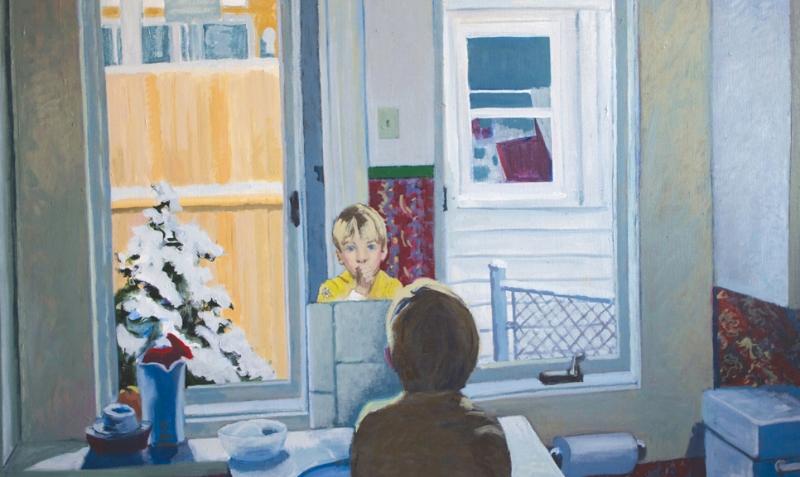 Chris in the Mirror, acrylic on canvas, circa 1982