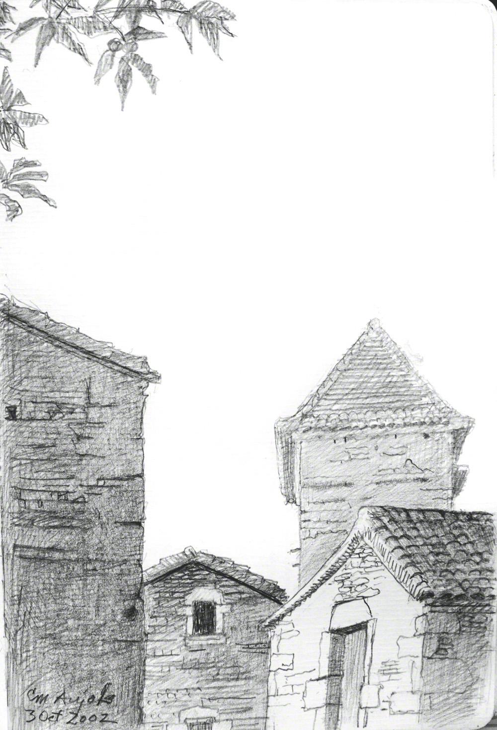 Aujols,  pencil on paper, October, 2002
