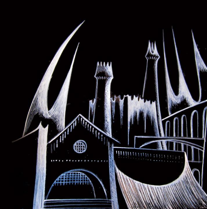 """Dark Age,"" gouache on paper, circa 1999"