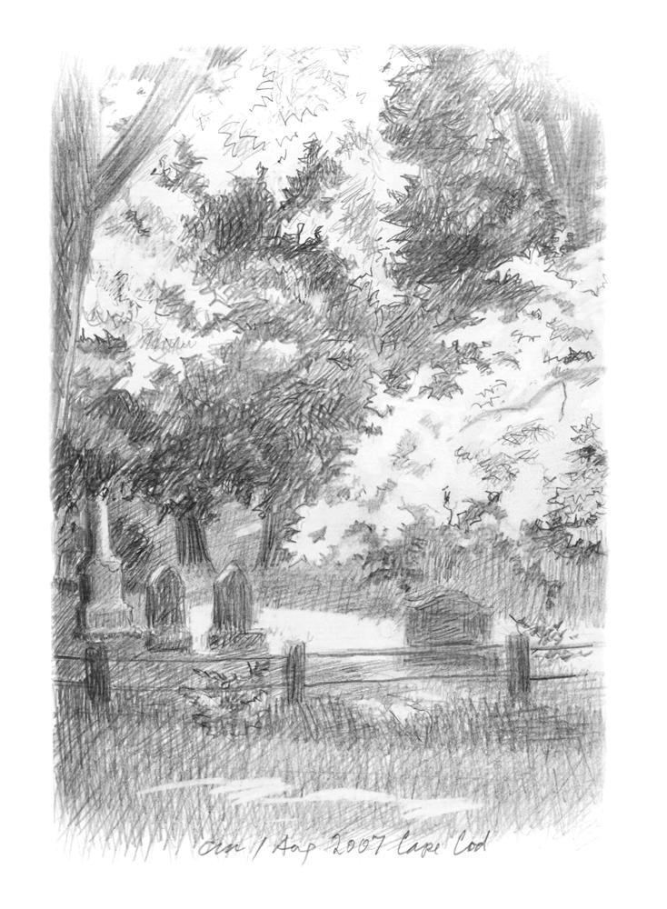 Quiet Neighbors, Cape Cod, pencil on paper, 2007