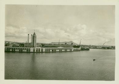 "Aloha Tower: ca 1935-- UH Library "" Aloha Hawaii Scrapbook"""
