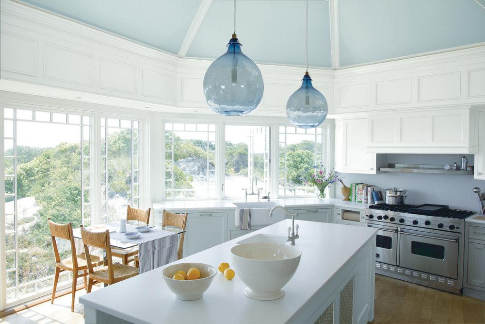 White_Kitchen_BlueVaultedCeiling_BluePendantLamps.jpg