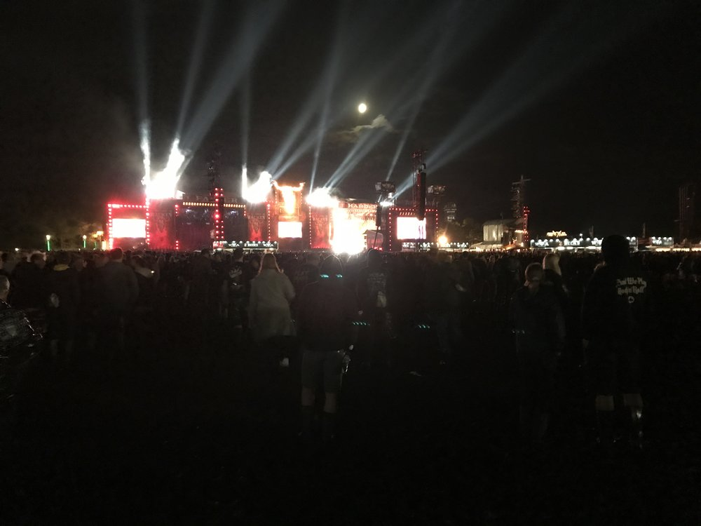 This is Megadeth. It looked way more awesome than this pic shows. We were walking away from the infield and noticed how cool it all looks lit up.