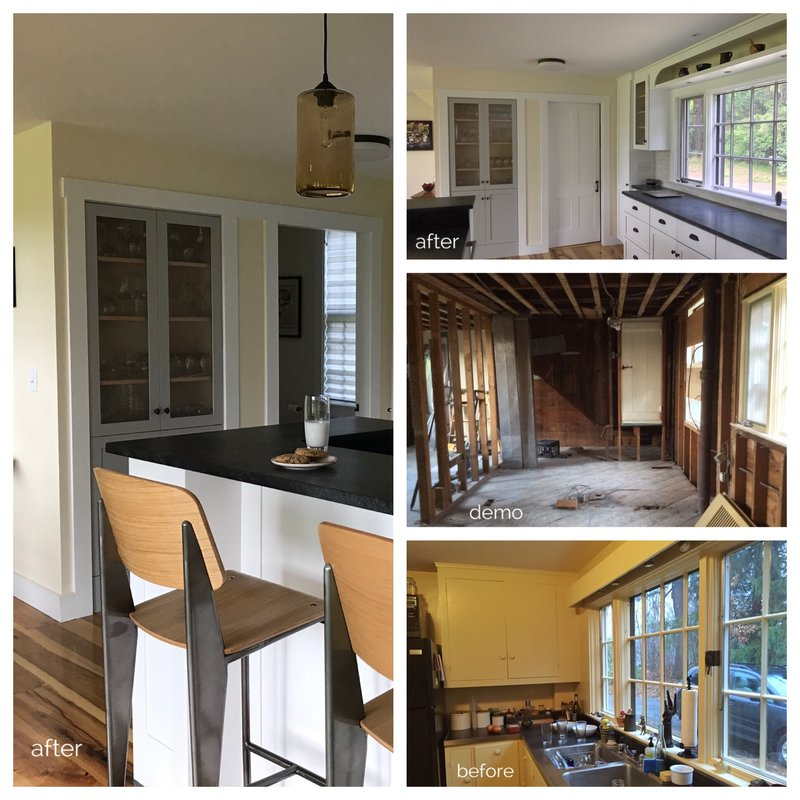Before & After: Kitchen (and bathroom entry) at the KHS Shaker-house on basement additions, room additions, glass additions, small masterbath additions, garage additions, building additions, outdoor additions, fireplace additions, master bedroom additions, loft additions,