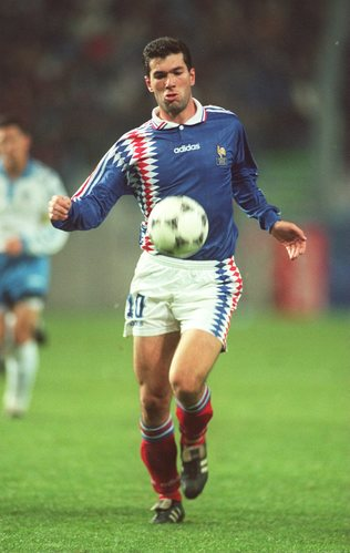 {France v Israel, Euro '96 Qualifier}Zinedine Zidane 20 years ago. Wearing his copa's at an early age during his international cap with France.