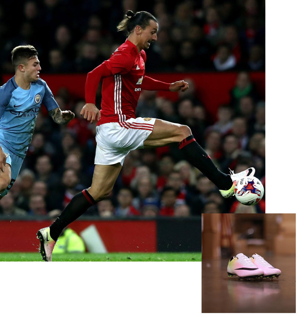 {Image Source from left to right: Getty //  Niky's-Sports}  Zlatan in full stride after switching from Nike to Adidas & Back.
