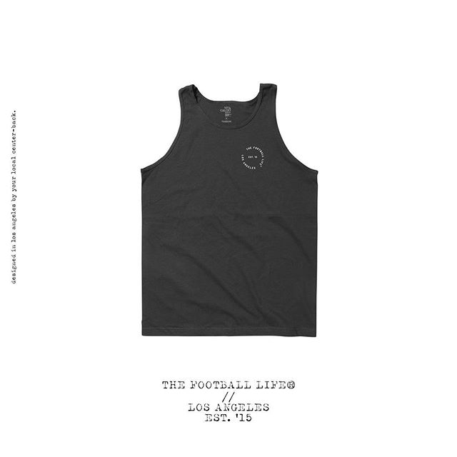 🦈🦈🦈Our Classic Circle Logo Tank is now available online:  Black 100% cotton Premier Fit Tank.  Featuring a The Football Life® Los Angeles Print left chest  with large print logo on back. Style and Fit: * Premier super soft fit. * Order your size for the intended fit. * Premium soft fit Tank in Black. * The Football Life® Est. 15 Los Angeles Print on front. * Designed in Los Angeles by your local center-back.