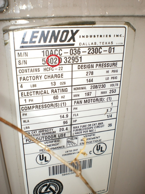 The data plate in this A/C unit shows that it was from 2002