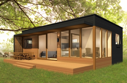 Here's a sample of a factory built modular home that would be ideal for a detached ADU  from Altius Rapid Systems Architecture - photo: sustain.ca