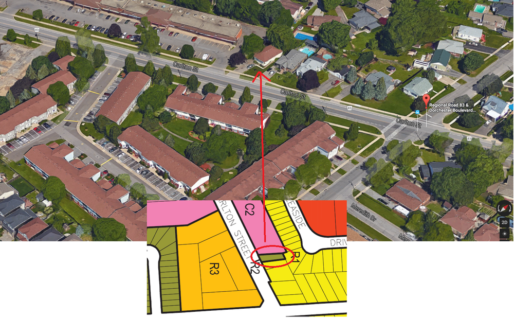 Here's a very interesting thing I saw while digging through the St.Catharines zoning document. The colour coded map on the bottom shows the different zones and what you can do with them. Yellow is single family (second suites allowed), while the dark green allows for duplexes, triplexes and even fourplexes. If I had to guess, this house may have been properly rezoned due to the high density development in the area. The pink and orange represents higher density and commercial. This begs the question: Can this be replicated in other areas, turning a single family home into a triplex?
