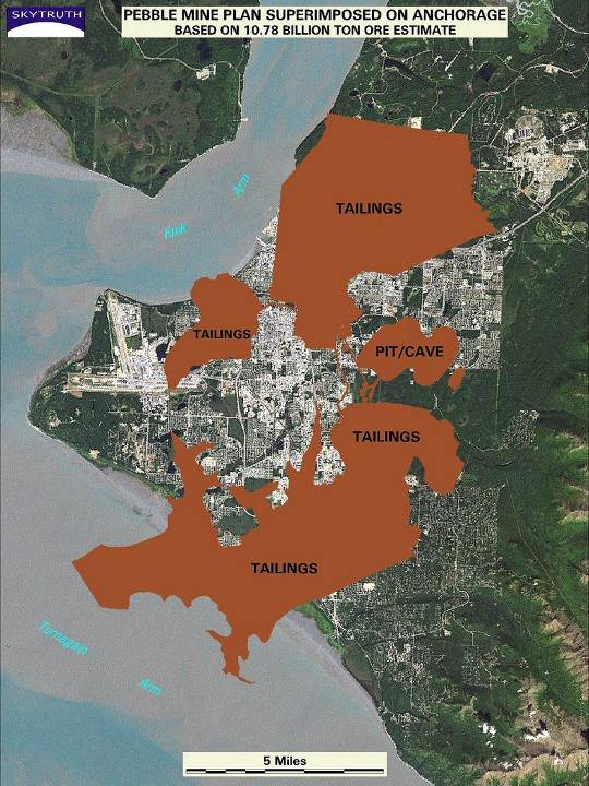 Pebble proposal, according to PLP-filed plans, overlaid on the Anchorage bowl.