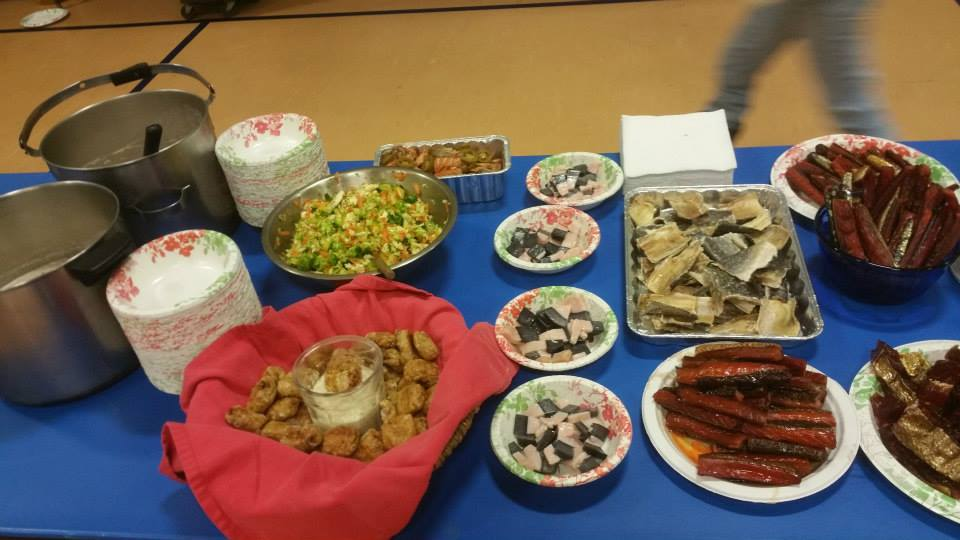 A tiny bit of the spread at the traditional foods feast potluck in Dillingham