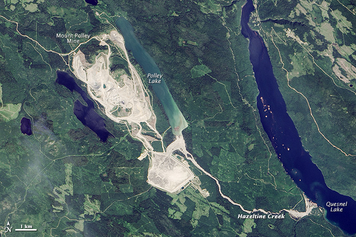 NASA aerial photos of the Mount Polley Mine site before (below) and after (above) the dam breach.