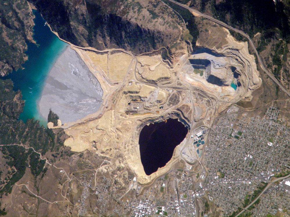 Berkeley Pit in Butte, Montana. This is significantly smaller than the tailings pond proposed at Pebble and would sit at the headwaters of Bristol Bay in perpetuity.