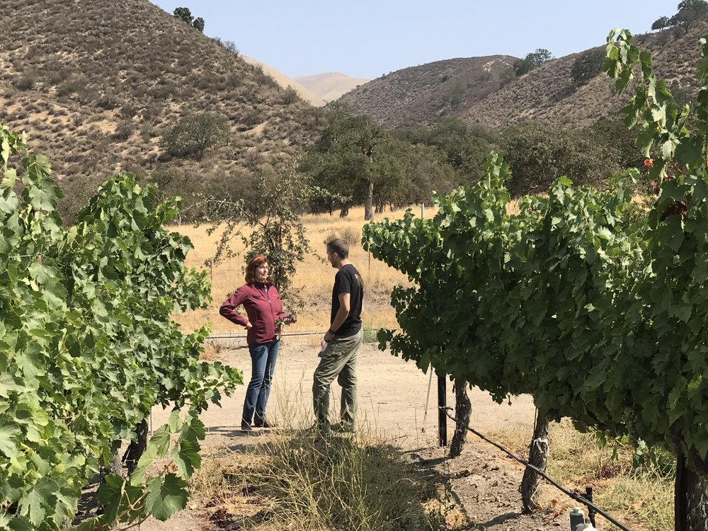 Lenora and Winemaker Ryan Kobza on location at Sycamore Flat, Arroyo Seco.