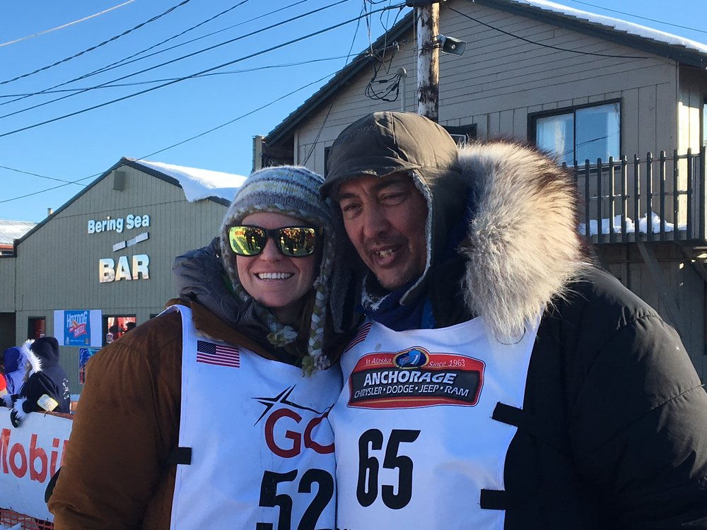 Katherine Keith and John Baker at Iditarod 2017 Finish