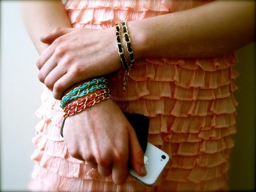 DIY chain leather bracelet