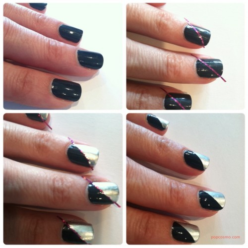 how to draw straight lines for manicure