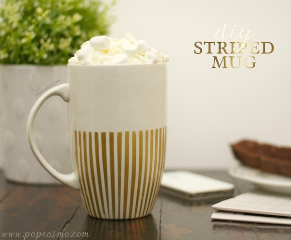DIY Gold Striped Mug | Popcosmo