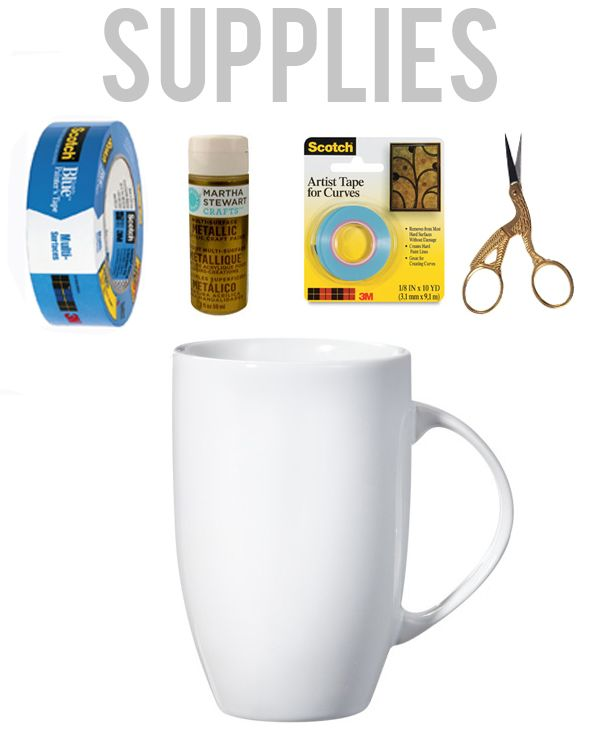 Supplies needed to make Gold Striped Mug