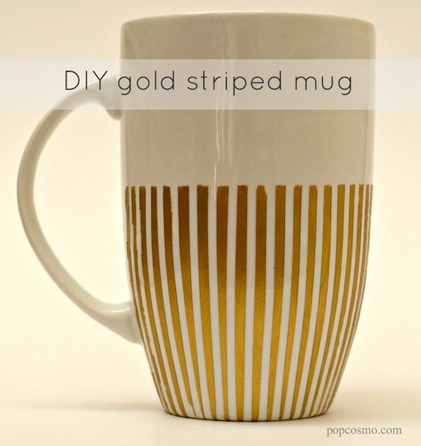 DIY Striped Gold Mug | Popcosmo